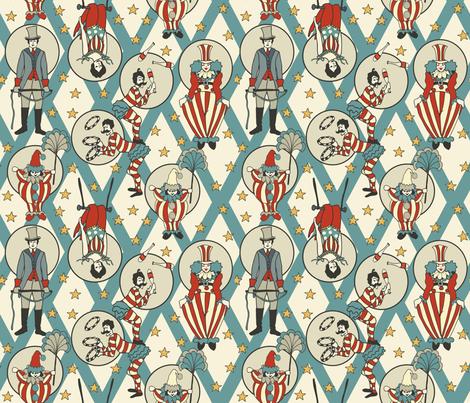 Vintage Circus Performers - Vintage Turquoise fabric by fernlesliestudio on Spoonflower - custom fabric