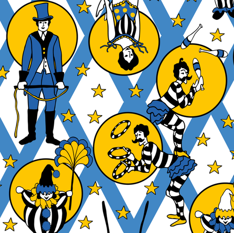 Circus Performers - Blue  fabric by fernlesliestudio on Spoonflower - custom fabric