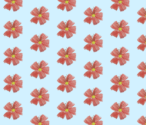 Coral_Flower_Blue_Small fabric by hobbitrosie on Spoonflower - custom fabric