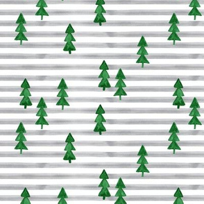 watercolor trees on stripes- green on grey
