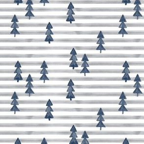 watercolor trees on stripes - blue on grey