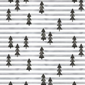 watercolor trees on stripes - black on grey