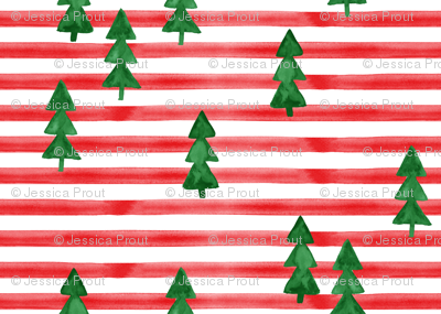 watercolor trees on stripes - green on red