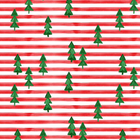 watercolor trees on stripes - green on red fabric by littlearrowdesign on Spoonflower - custom fabric