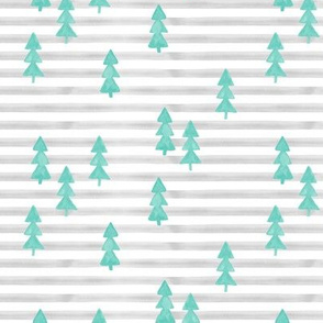 watercolor trees on stripes - light green on grey