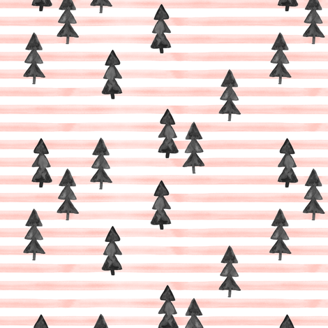 watercolor trees on stripes - black on pink fabric by littlearrowdesign on Spoonflower - custom fabric
