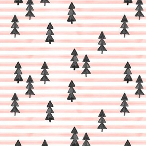 watercolor trees on stripes - black on pink