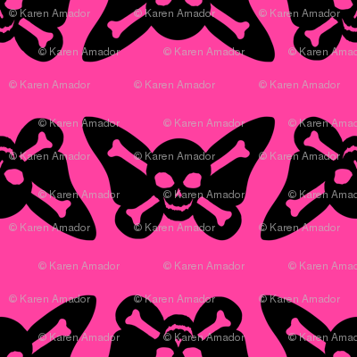 Butterfly Skulls - Pink and Black