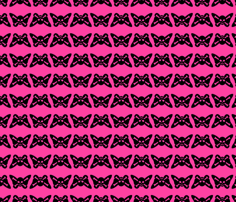 Butterfly Skulls - Pink and Black fabric by elladorine on Spoonflower - custom fabric