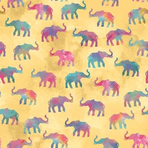 Elephants On Parade in Watercolor Yellow