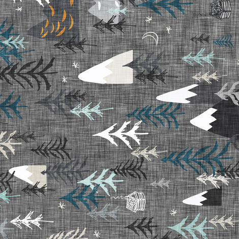 Mountain Peaks (charcoal) RAILROAD fabric by nouveau_bohemian on Spoonflower - custom fabric