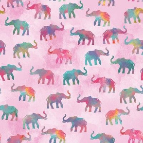 Elephants On Parade in Watercolor Pink