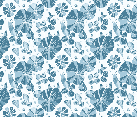 Floramoon Blue Hues Palette fabric by floramoon_designs on Spoonflower - custom fabric