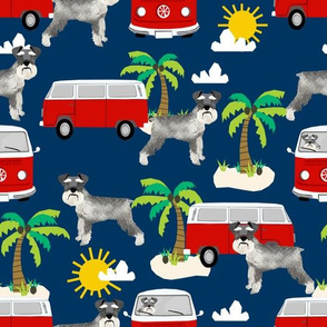 schnauzer beach palm tree summer fabric cute dog design