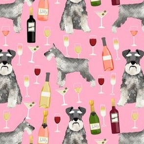 schnauzer fabric dogs and wine design cute dogs and bubbly fabric schnauzer dogs - pink