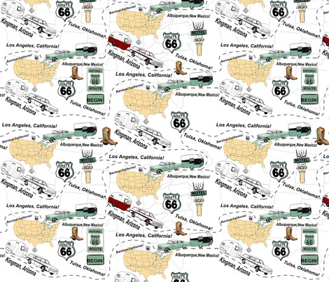 Route 66 Usa Map.Road Map Route 66 Usa Wallpaper Salzanos Spoonflower