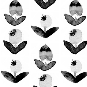 black + white folk flowers