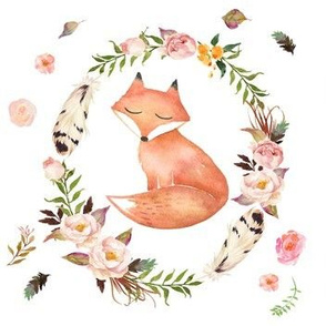 Sleepy Fox in Floral Wreath