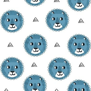 lion fabric // nursery baby lion design safari baby andrea lauren fabric - blue