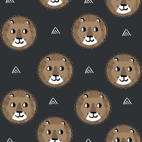 lion fabric // nursery baby lion design safari baby andrea lauren fabric - charcoal and brown