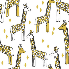 giraffe fabric // large scale safari kids nursery print andrea lauren fabric - mustard