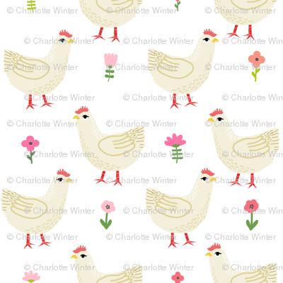 Chicken cute farm homestead outdoor animal pattern 1