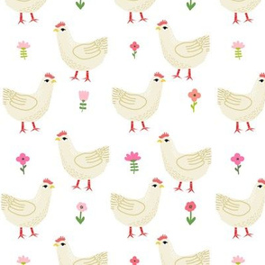 Chicken cute farm homestead outdoor animal pattern 1