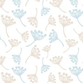 Gentle blue and brown dandelion flowers