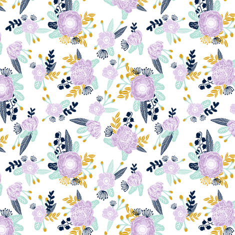 lavender navy mint florals fabric cute girls design fabric by charlottewinter on Spoonflower - custom fabric