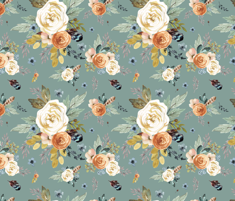 "18"" Western Autumn / More Florals / Dry Green fabric by shopcabin on Spoonflower - custom fabric"