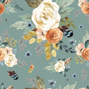 """18"""" Western Autumn / More Florals / Dry Green"""