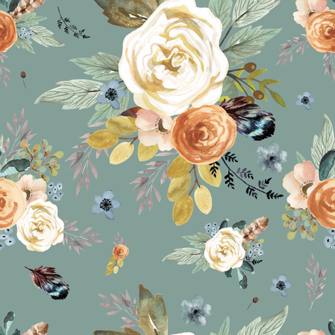 "8"" Western Autumn / More Florals / Dry Green fabric by shopcabin on Spoonflower - custom fabric"
