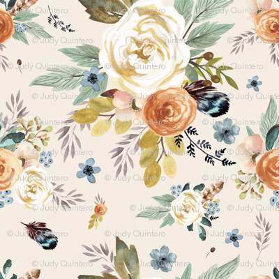 "8"" Western Autumn / More Florals / Ivory"