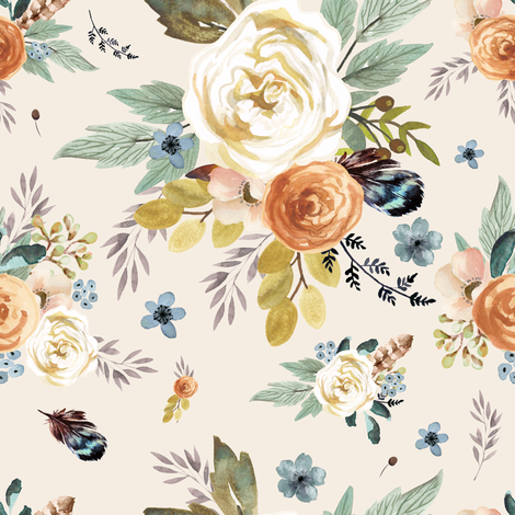 "8"" Western Autumn / More Florals / Ivory fabric by shopcabin on Spoonflower - custom fabric"
