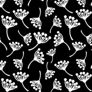 Black and white dandelion pattern