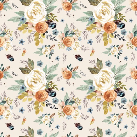 """4"""" Western Autumn / More Florals / Ivory fabric by shopcabin on Spoonflower - custom fabric"""