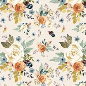 "4"" Western Autumn / More Florals / Ivory"