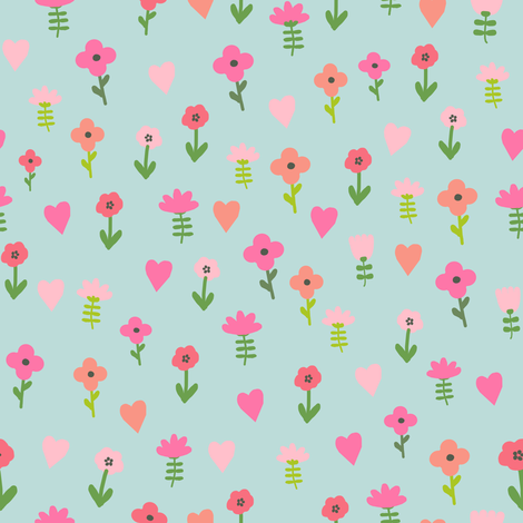 Chicken floral 3 cute farm florals wildflowers fabric by charlottewinter on Spoonflower - custom fabric