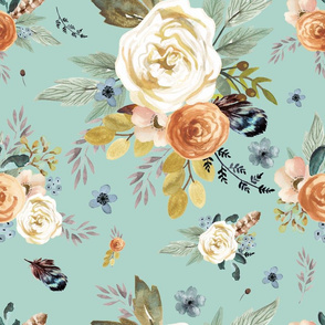 """18"""" Western Autumn / More Florals / Light Dry Green"""