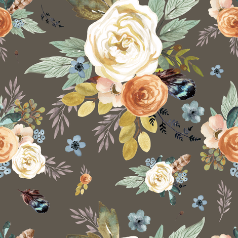 "8"" Western Autumn / More Florals / Taupe fabric by shopcabin on Spoonflower - custom fabric"
