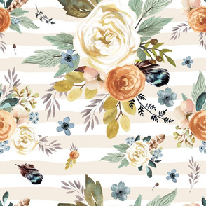 "18"" Western Autumn / More Florals / Ivory Stripes"