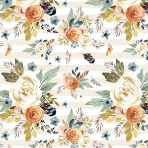 "4"" Western Autumn / More Florals / Ivory Stripes"