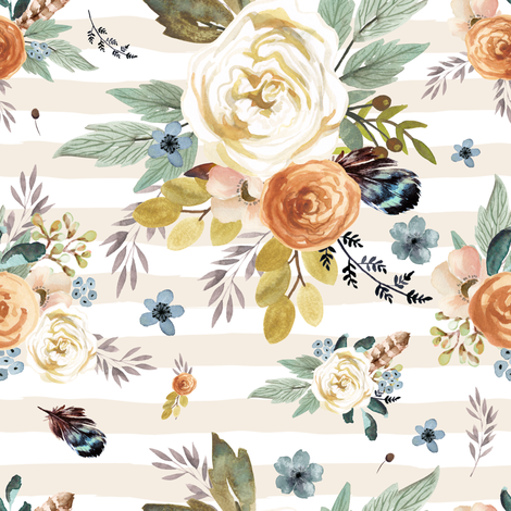 "8"" Western Autumn / More Florals / Ivory Stripes fabric by shopcabin on Spoonflower - custom fabric"