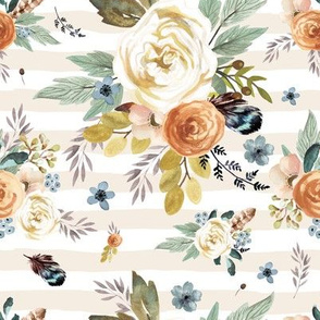 "8"" Western Autumn / More Florals / Ivory Stripes"
