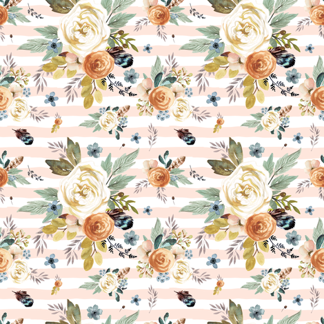 "4"" Western Autumn / More Florals / Pink Stripes fabric by shopcabin on Spoonflower - custom fabric"