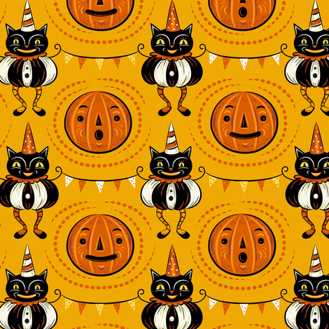 Halloween Cats and Pennants fabric by johannaparkerdesign on Spoonflower - custom fabric