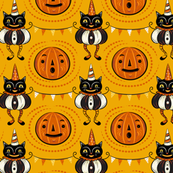 Halloween Cats and Pennants