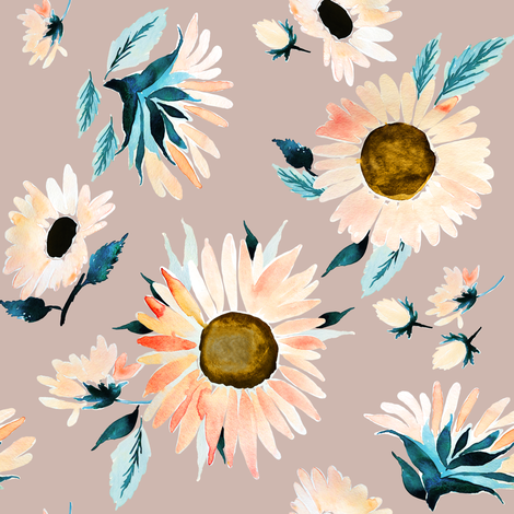 Indy Bloom Design Peachy Sunflower C fabric by indybloomdesign on Spoonflower - custom fabric