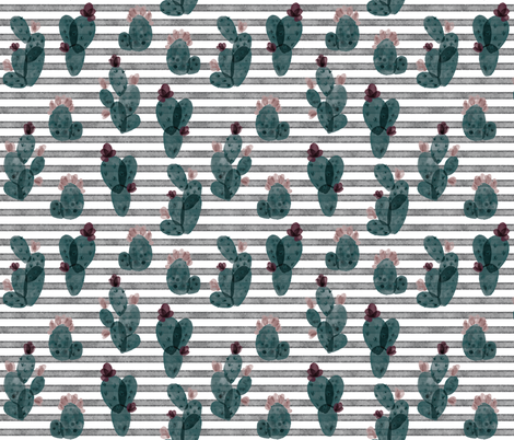 spruce autumn cactus // on salted watercolor stripes 179-13 fabric by ivieclothco on Spoonflower - custom fabric