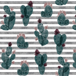 spruce autumn cactus // on salted watercolor stripes 179-13